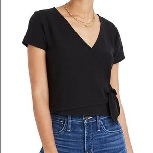 MADEWELL Texture and Thread Wrap Top Black - L
